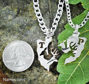 Buck and Doe Arrowhead with Initials Necklaces