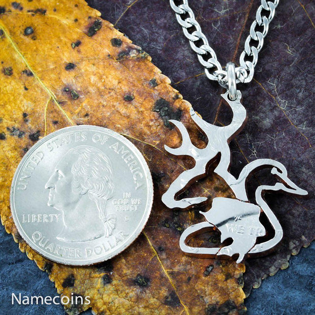 Buck, Duck, and Bass Fish Necklace, Hunters Jewelry, hand cut US coin by NameCoins