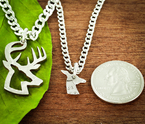 Buck and Doe Necklaces, Inside and outside pieces, Deer Hunting, Hand Cut Half Dollar Set