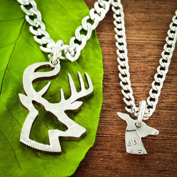 Buck and Doe Necklaces, Inside and outside pieces, Deer Hunting, Hand Cut Half Dollar Set by NameCoins