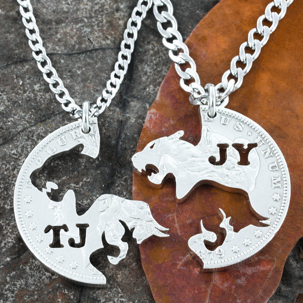 Bull Lioness Couples Necklaces, Handmade coin jewelry