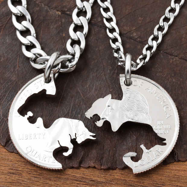 Bull and Lioness Couples Necklaces