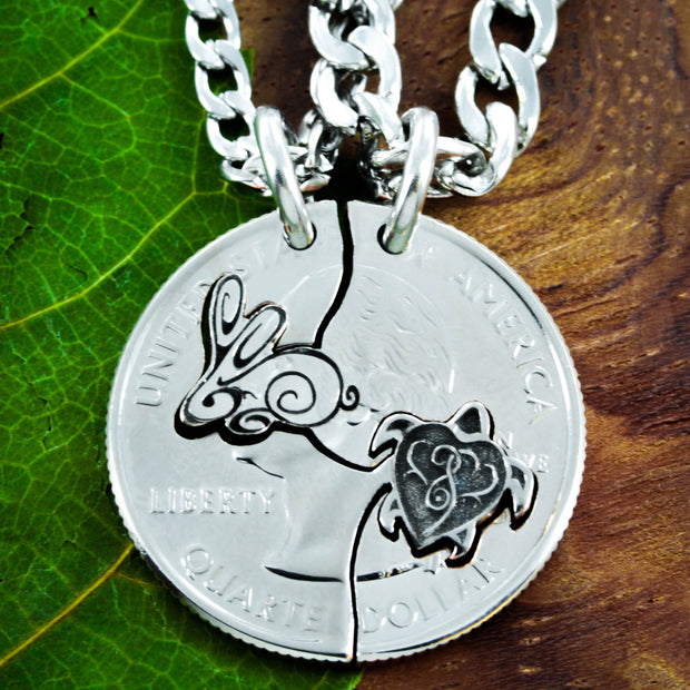 Turtle and Bunny Rabbit Couples Necklaces, Friendship Jewelry set, hand cut coin