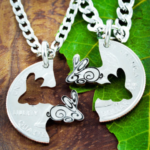 Bunny best friends necklaces, rabbit connecting jewelry by NameCoins