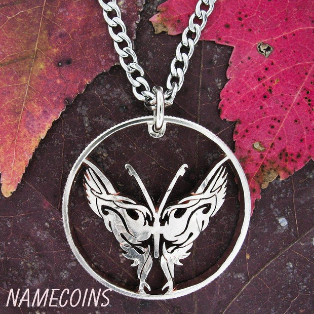 Butterfly Necklace, Hand Cut Half Dollar by NameCoins
