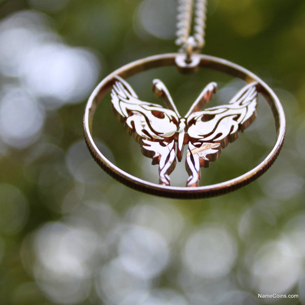 Butterfly Necklace, Hand Cut Half Dollar