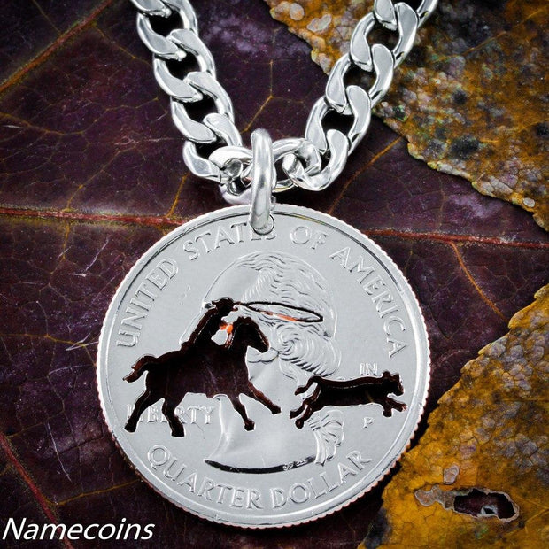 Calf Roping Necklace hand cut into a quarter by NameCoins