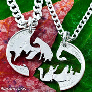 Cat and Dog Interlocking Necklaces, hand cut coin by NameCoins