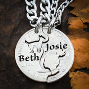 Cat Owner BFF Necklaces,  Engraved Names coin jewelry