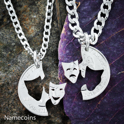 Comedy - Tragedy Theater Necklaces, Drama Faces,  hand cut coin