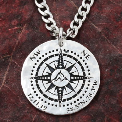 Silver Mountain Compass Necklace With Custom GPS Coordinates and Date