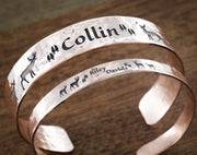 Couples Copper Cuffs, Hammered, Buck and Doe with name, His and Her