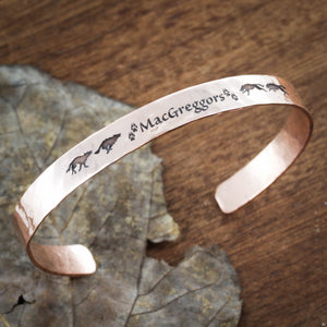 Wolf Cuff Bracelet, Hammered Copper Cuff With Name and wolf paw prints, 6mm wide