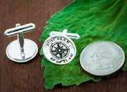 Silver Compass Cufflinks with Engraved GPS Coordinates, Groom gift or Anniversary gift for men