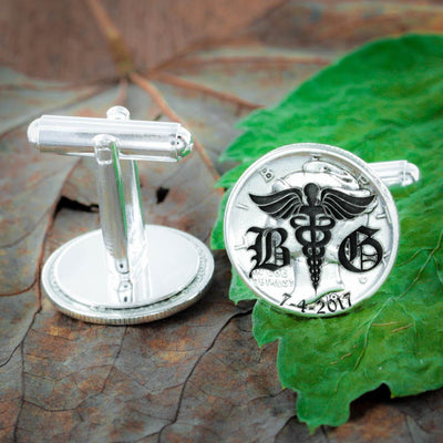 Silver Doctor Cufflinks with Custom Old English Letters and Custom Date Engraved, Anniversary Gift