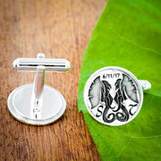 Silver Elephant Wedding Cufflinks with Custom Initials and Date Engraved