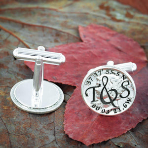 Silver Wedding Cufflinks, Custom Initials and GPS Coordinates Cuff Links,