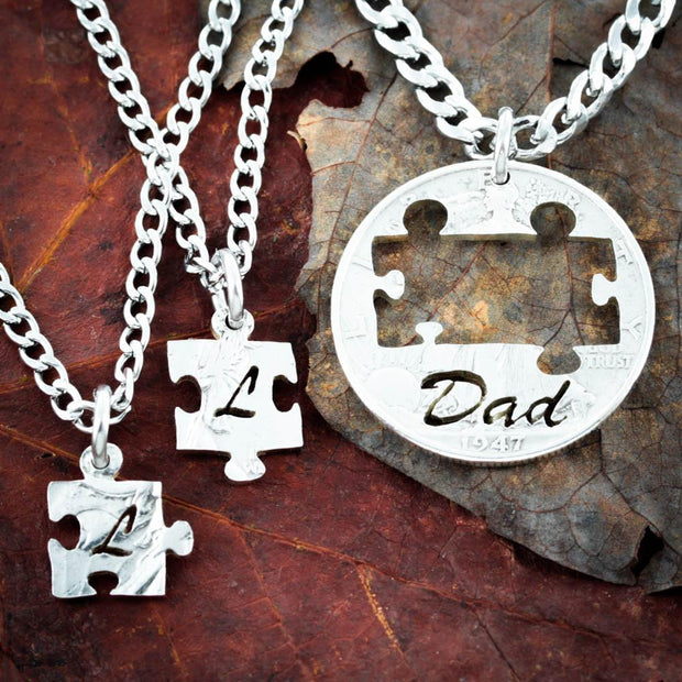 Dad love his Kids, 3 piece Initials and puzzles necklaces
