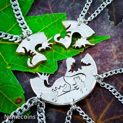 Dinosaur 5 Piece Necklaces, Fits like a puzzle, Cut from a Real silver Dollar