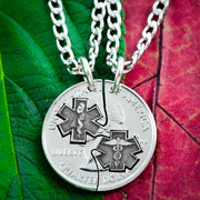 Doctor Necklaces for Couples and Best Friends, Star of Life coin jewelry