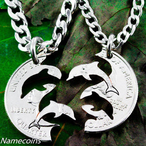 Dolphin necklace, Interlocking Relationship set, hand cut coin