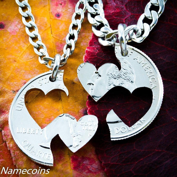 Double Heart Necklace, Couples jewelry hand cut coin by NameCoins