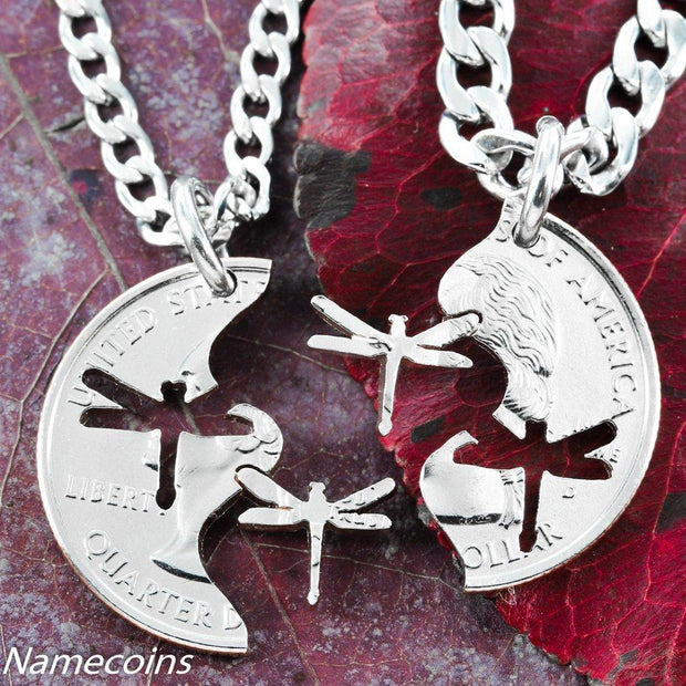 Dragonfly jewelry, Interlocking Necklaces, hand cut coin by NameCoins