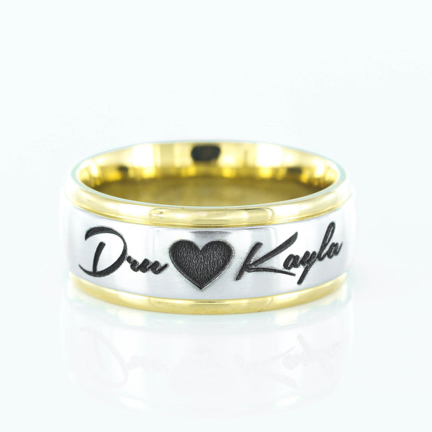 Custom Names and Heart Ring, 7mm Stainless Steel Ring