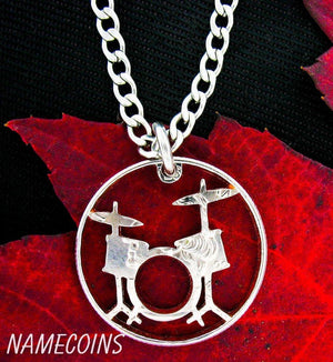 Drum Set Necklace, Rockers jewelry hand cut coin
