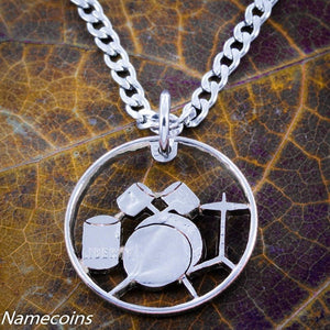 Drummer necklace, drumset handmade music jewelry
