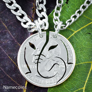 Elephant Necklace, Friendship Necklaces, Interlocking Set, Relationship Jewelry, hand cut coin