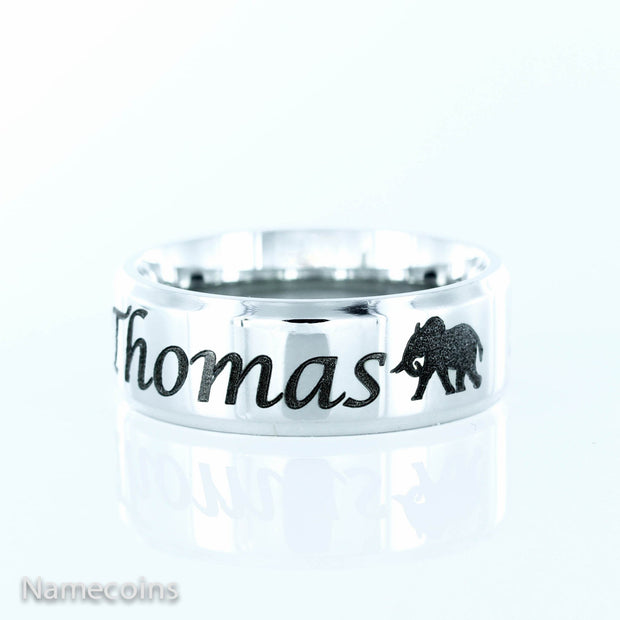 Elephant ring, with custom name engraved, Stainless Steel 7mm ring