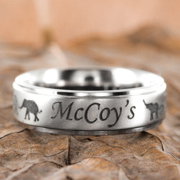 Elephant family name ring, Custom engraved 7mm titanium ring