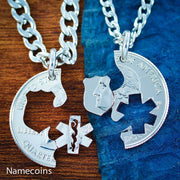 Star of life and Police Badge jewelry, Law Enforcement, EMT Couples Necklaces by Namecoins