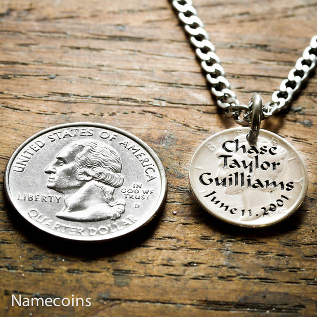Silver Name Necklace, Names and birthdate engraved on a Mercury Dime
