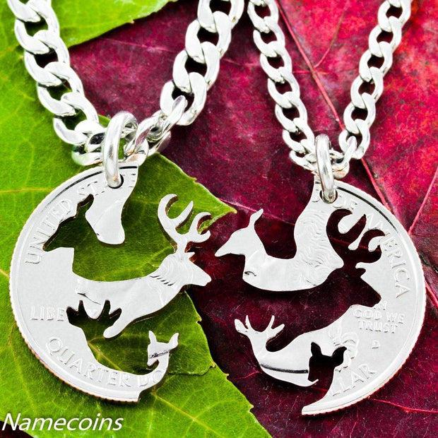 Family Necklace, Buck and Doe, Deer with Children, Fawn and Spike by NameCoins