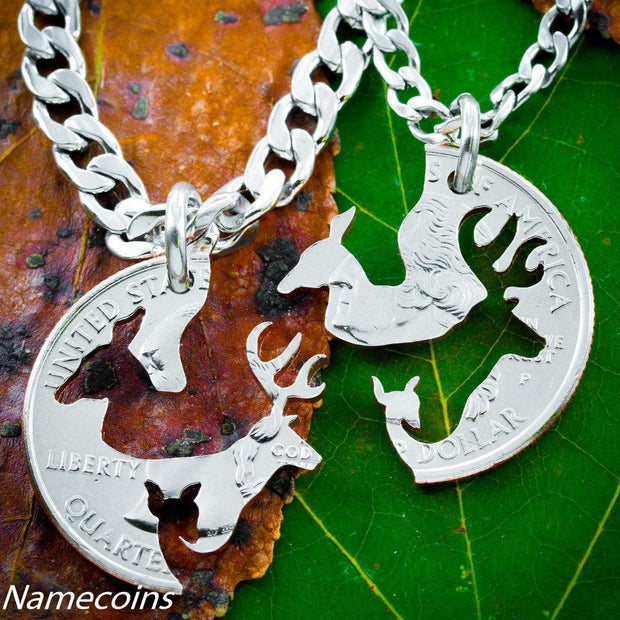 Family Necklace, Buck and Doe With Fawn Jewelry, Interlocking Love Quarter