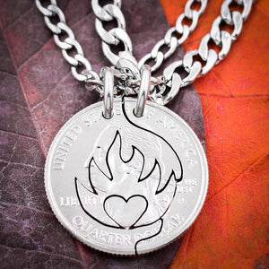 Heart on Fire Couples Necklaces, Fiery Love and Relationship Jewelry