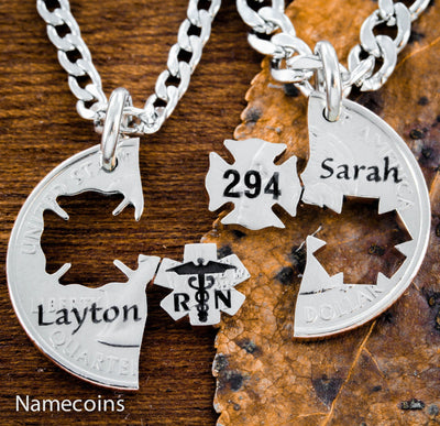 Firefighter and RN nurse, Couples Necklaces, Custom names and numbers