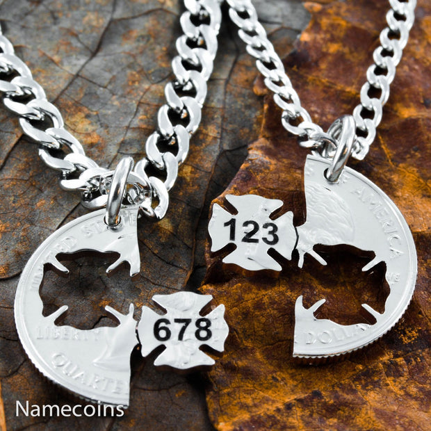 Firefighter and Wife Necklace set, Engraved With Numbers Interlocking Quarter