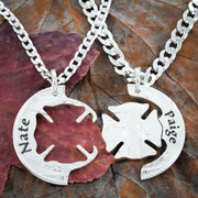 Custom Name And Date Firefighter Couples Necklaces, Front and back engraved