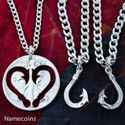 Fishing Hook Heart necklaces, 3 piece set. Hand cut Coin