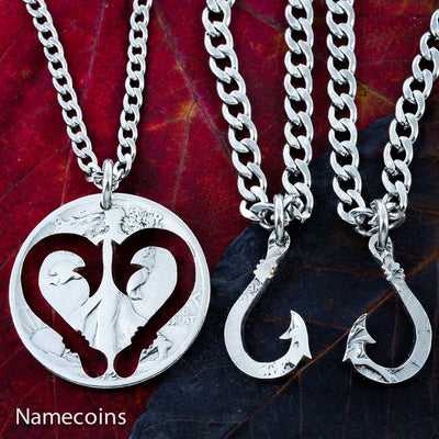 Fishing Hook Heart necklaces, 3 piece set. Hand cut Coin by Namecoins