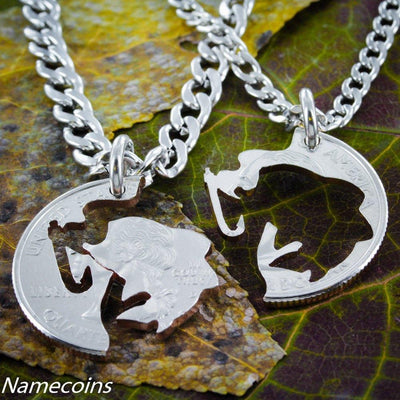 Fishing Jewelry, Couples necklaces, Hook and Fish, hand cut coin