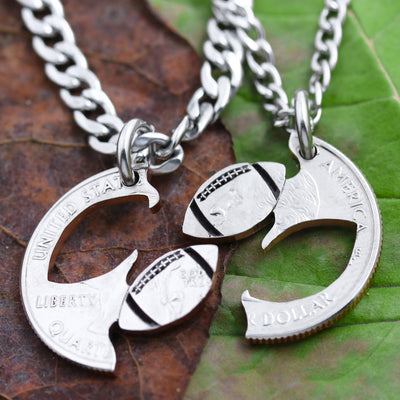Football Split Necklaces, Best Friends Jewelry