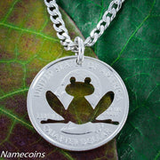 Frog Necklace Cut by hand from a coin