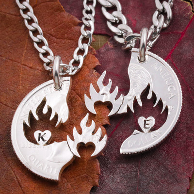Initial Couples Necklaces, Hearts on Fire