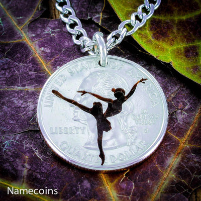 Ballerina necklace, Girl Ballet Dancer, hand cut coin