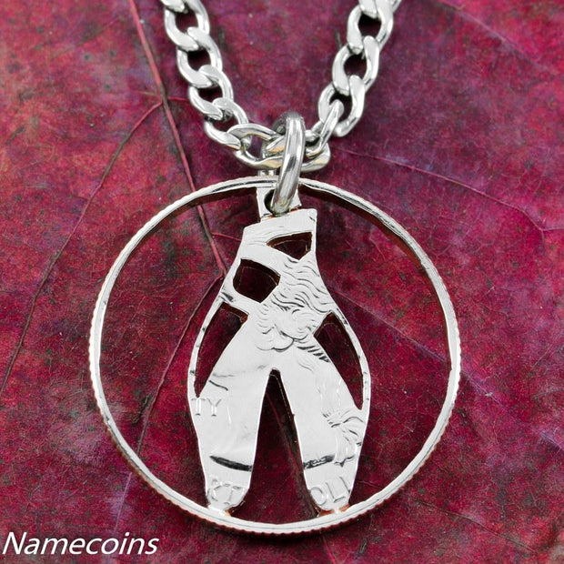 Ballerina Slipper Necklace, Ballet Jewelry, hand cut coin