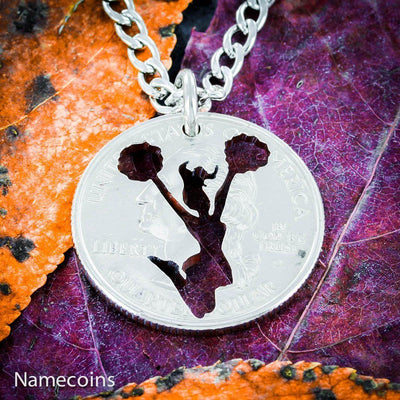 Cheer girl charm necklace, Cheerleading quarter jewelry, Hand Cut Coin